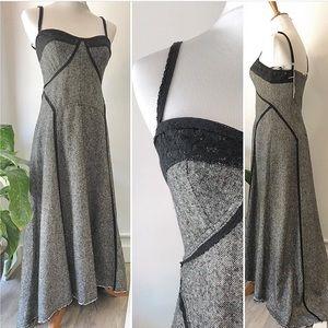 Free People Tweed Raw Hem Slip Maxi Dress Gown